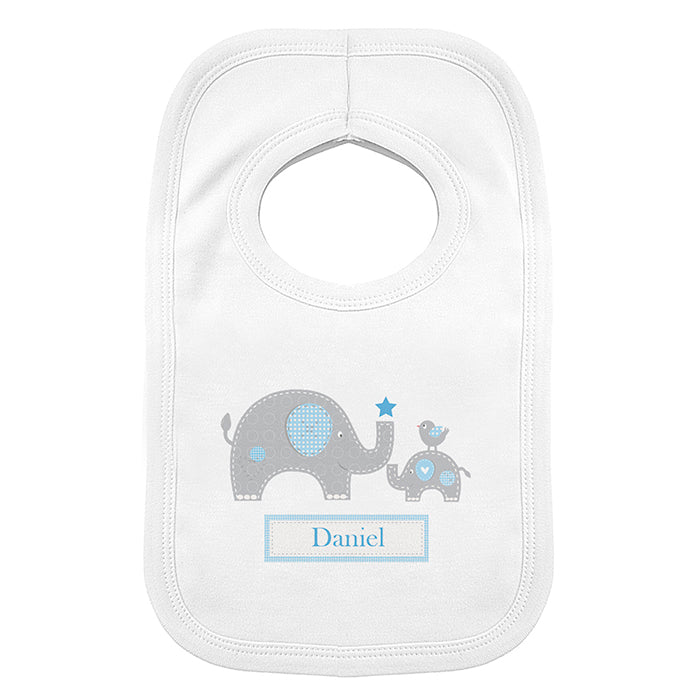 Personalised Blue Elephant 0-3 Months Baby Bib, Baby & Toddler by Low Cost Gifts