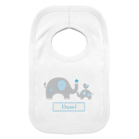 Personalised Blue Elephant 0-3 Months Baby Bib | ShaneToddGifts.co.uk