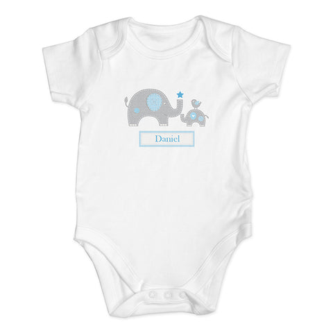 Buy Personalised Blue Elephant 9-12 Months Baby Vest