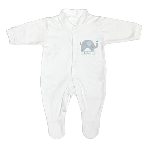 Personalised Blue Elephant 6-9 Months Babygrow