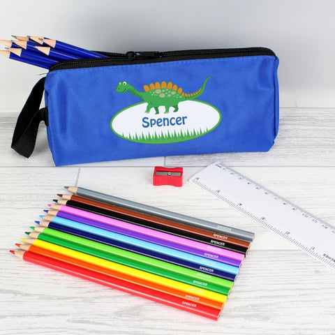Blue Dinosaur Pencil Case with Personalised Pencils & Crayons.