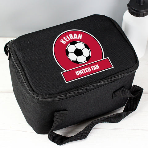 Buy Personalised Red Football Fan Lunch Bag