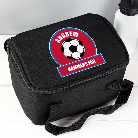Buy Personalised Claret and Blue Football Fan Lunch Bag
