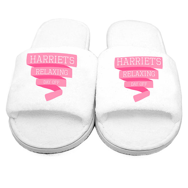 personalised-pink-banner-velour-slippers