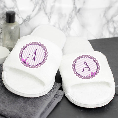 Buy Personalised Butterfly Initial Velour Slippers