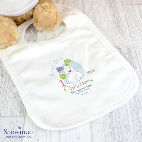 Personalised The Snowman and the Snowdog My 1st Christmas Blue Bib