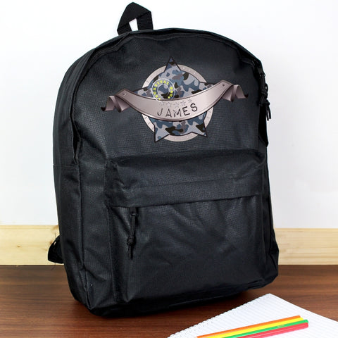 Personalised Army Camo Black Backpack | ShaneToddGifts.co.uk