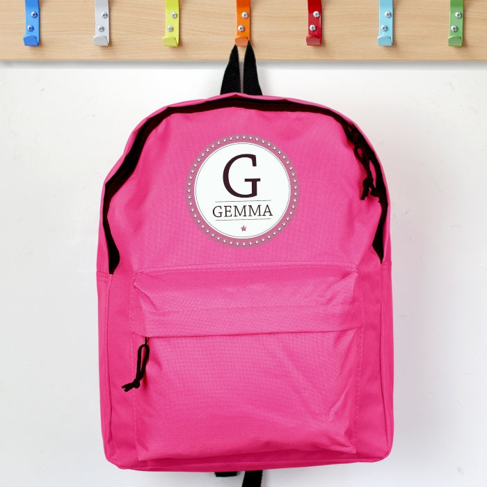 Personalised Star Name Pink Backpack