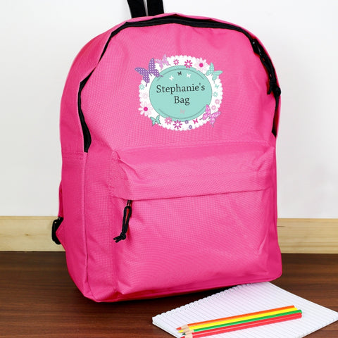 Buy Personalised Butterfly Pink Backpack