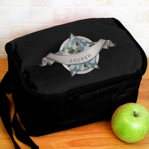 Buy Personalised Army Camo Black Lunch Bag
