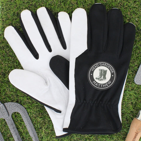 Personalised Head Gardener Large Black Gardening Gloves - Shane Todd Gifts UK