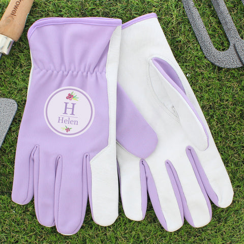 Personalised Floral Bouquet Medium Lilac Gardening Gloves - Shane Todd Gifts UK