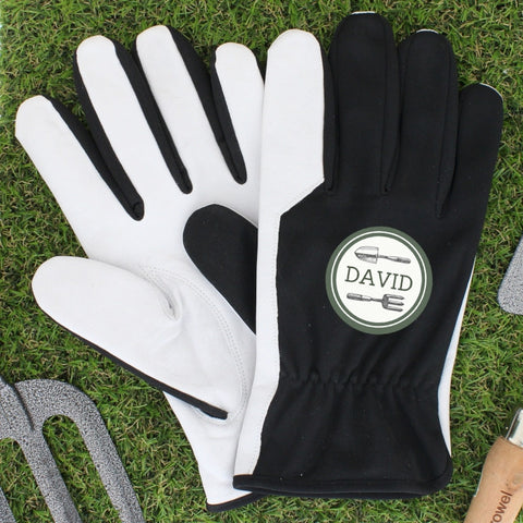 Personalised Garden Tools Large Black Gardening Gloves - Shane Todd Gifts UK