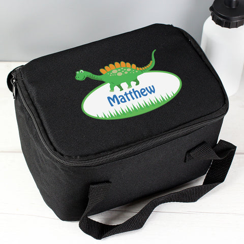 Buy Personalised Dinosaur Black Lunch Bag