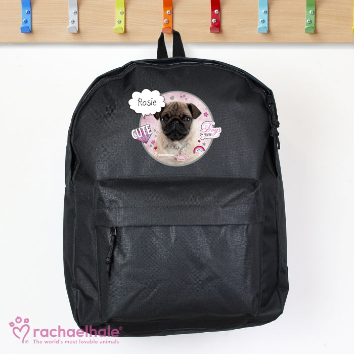 Personalised Rachael Hale Doodle Pug Black Backpack, Luggage & Bags by Gifts24-7