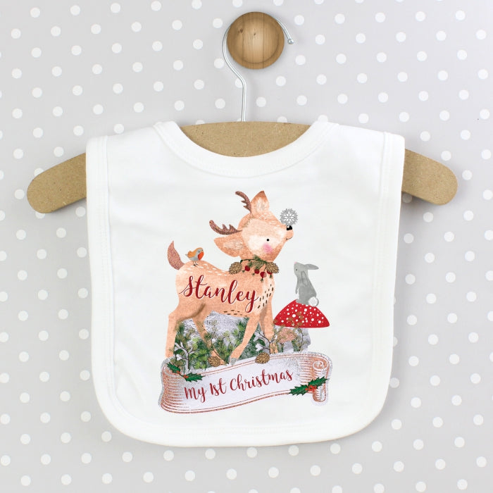 Personalised Festive Fawn Bib, Baby & Toddler by Low Cost Gifts