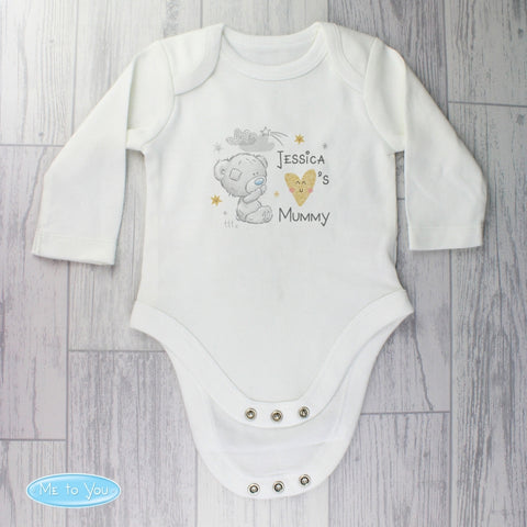 Personalised Tiny Tatty Teddy I Heart 6-9 Months Long Sleeved Baby Vest