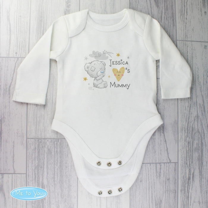 Personalised Tiny Tatty Teddy I Heart 9-12 Months Long Sleeved Baby Vest