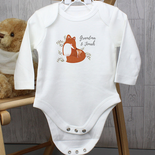 Personalised Mummy and Me Fox 3-6 Months Long Sleeved Baby Vest