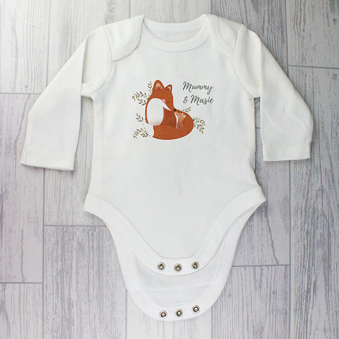 Personalised Mummy and Me Fox 9-12 Months Long Sleeved Baby Vest