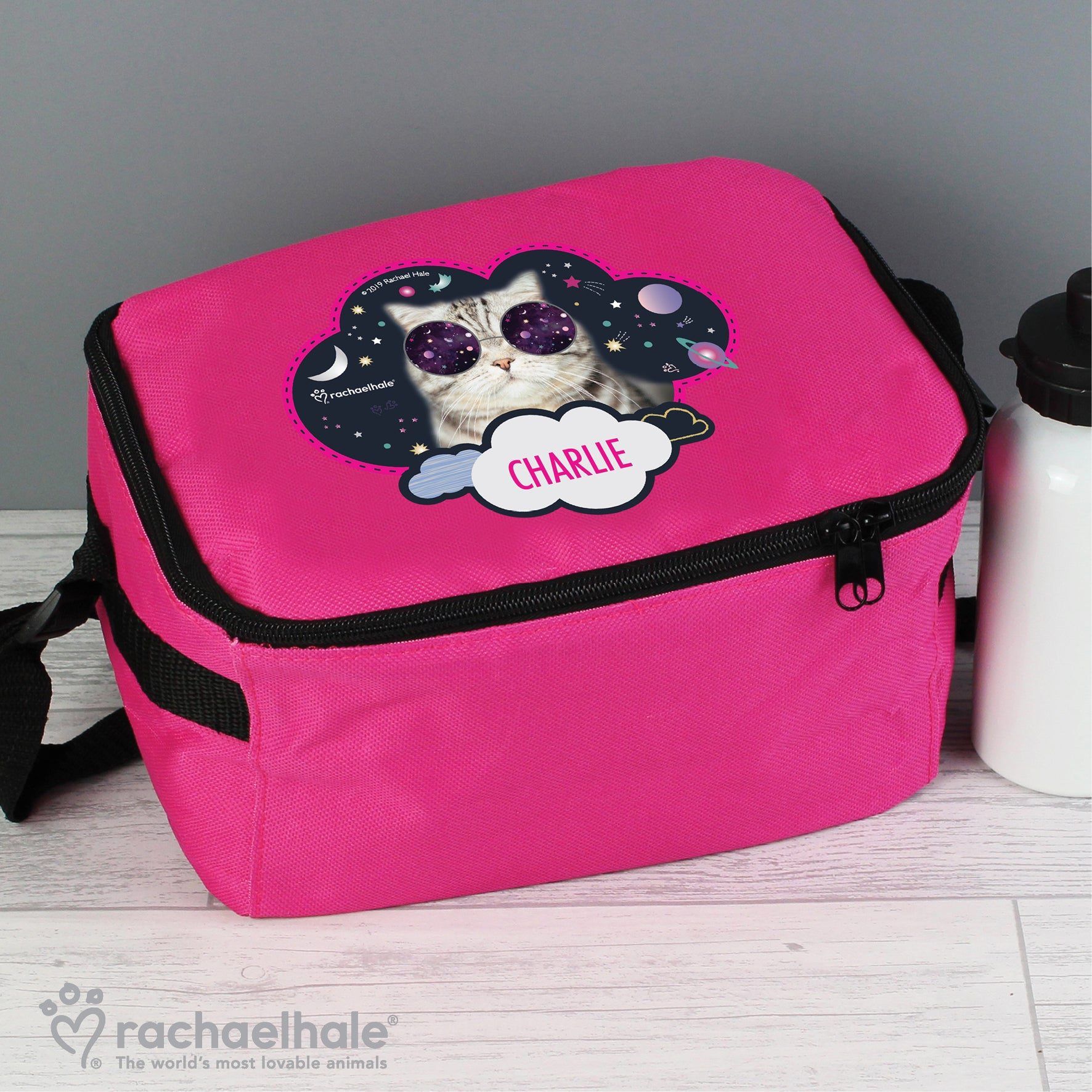 Personalised Rachael Hale Space Cat Pink Lunch Bag, Food & Beverage Carriers by Gifts24-7