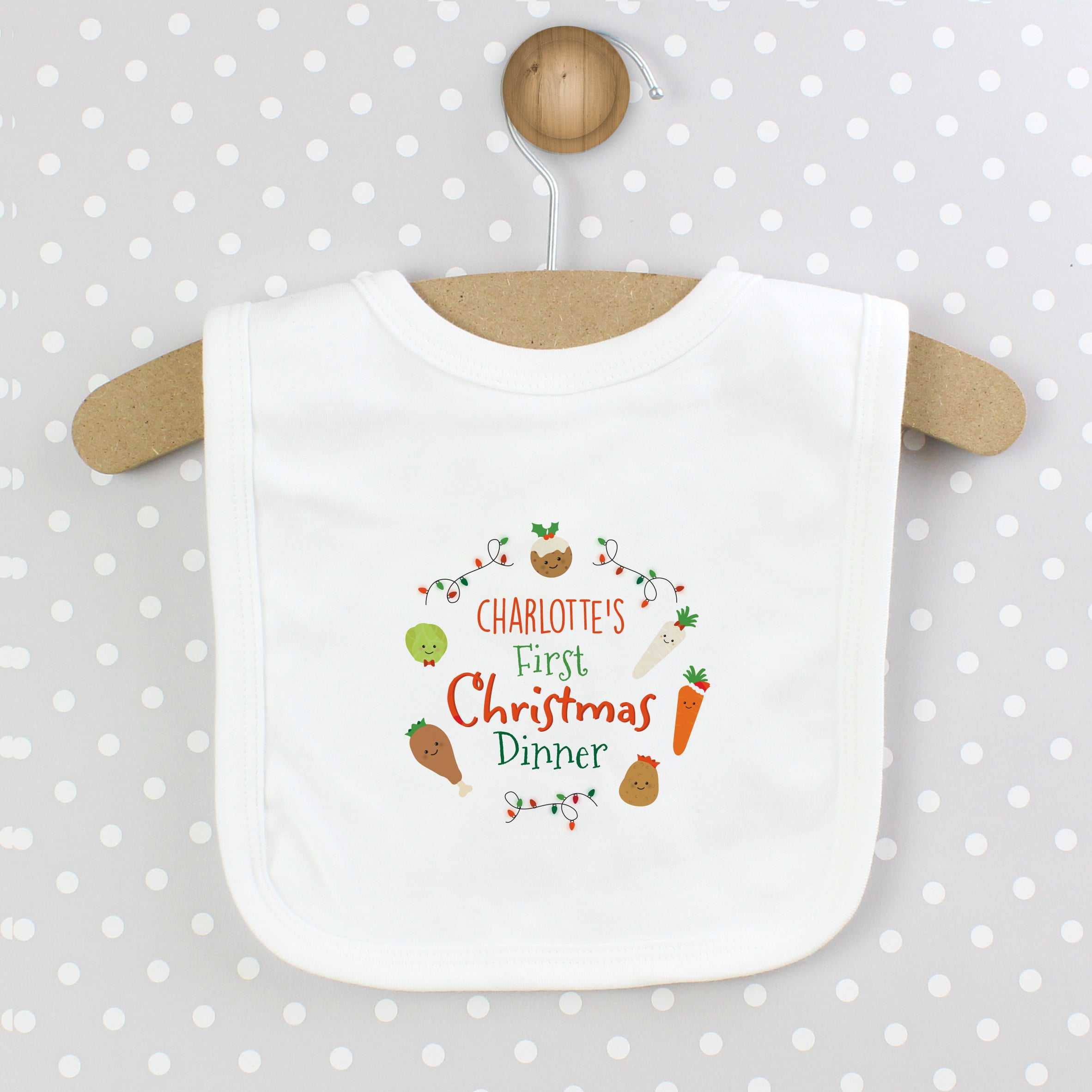 Personalised 'First Christmas Dinner' Bib, Baby & Toddler by Low Cost Gifts