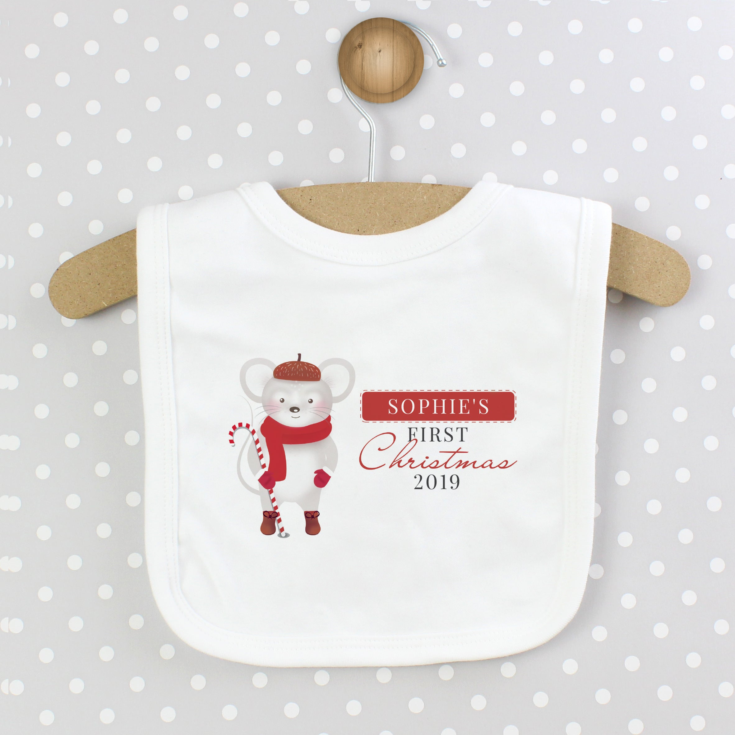 Personalised '1st Christmas' Mouse Bib, Baby & Toddler by Low Cost Gifts