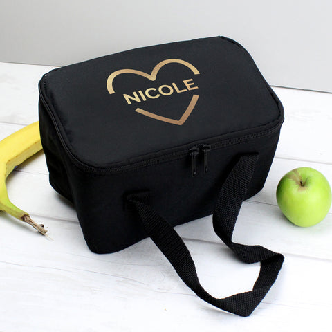 Personalised Gold Heart Black Lunch Bag
