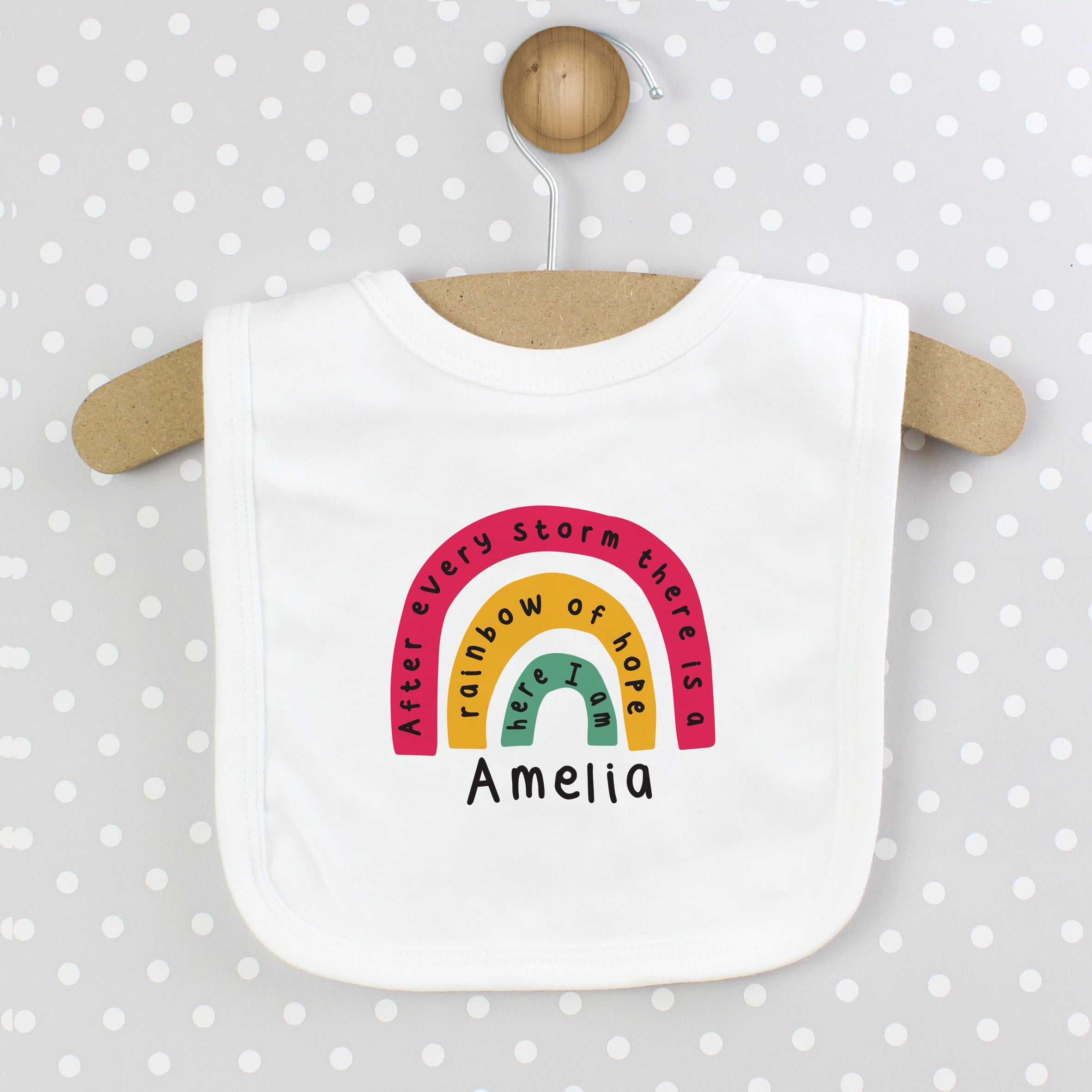 Personalised Rainbow Bib, Baby & Toddler by Low Cost Gifts