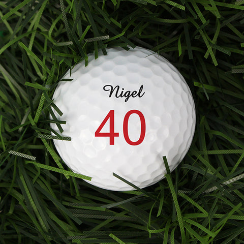 Personalised Small Numbers Birthday Golf Ball | ShaneToddGifts.co.uk