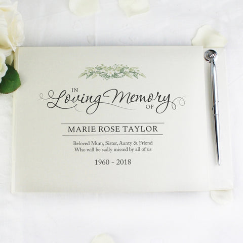 Buy Personalised In Loving Memory Guest Book & Pen