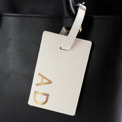 Personalised Gold Initials Cream Luggage Tag