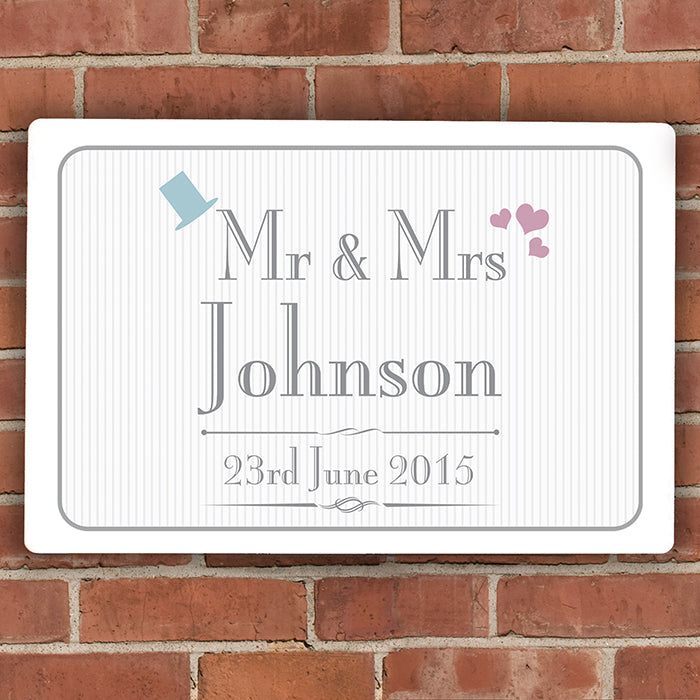 Personalised Decorative Wedding Mr & Mrs Plaque