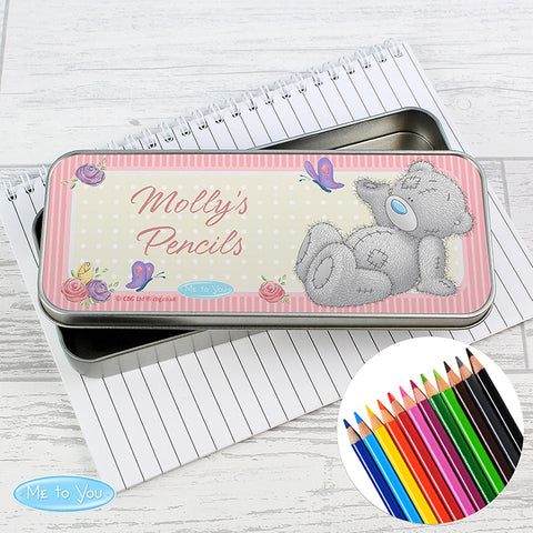Personalised Me to You Pencil Tin with Pencil Crayons