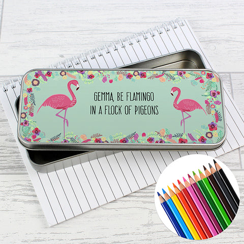 Buy Personalised Flamingo Pencil Tin with Pencil Crayons