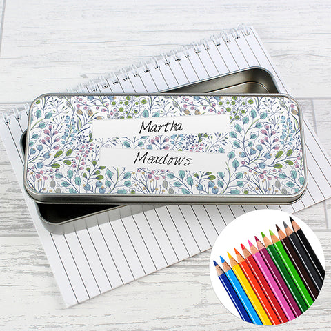 Personalised Botanical Pencil Tin with Pencil Crayons | ShaneToddGifts.co.uk