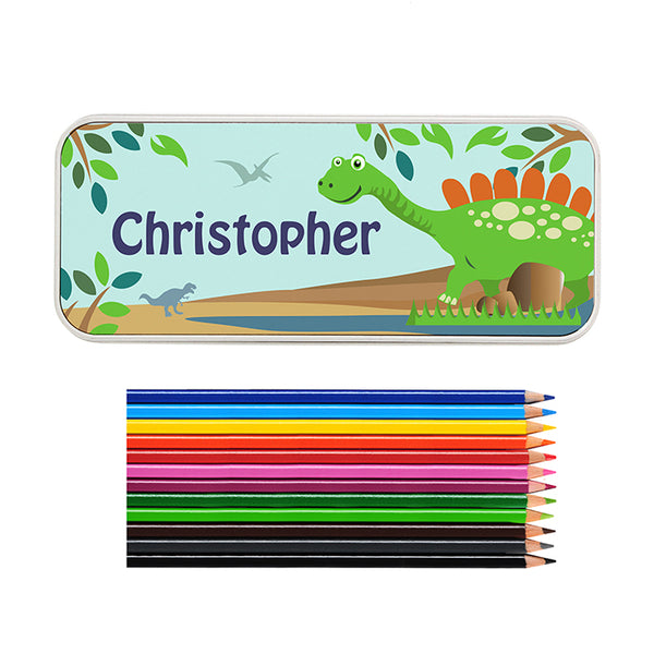 personalised-dinosaur-pencil-tin-with-pencil-crayons