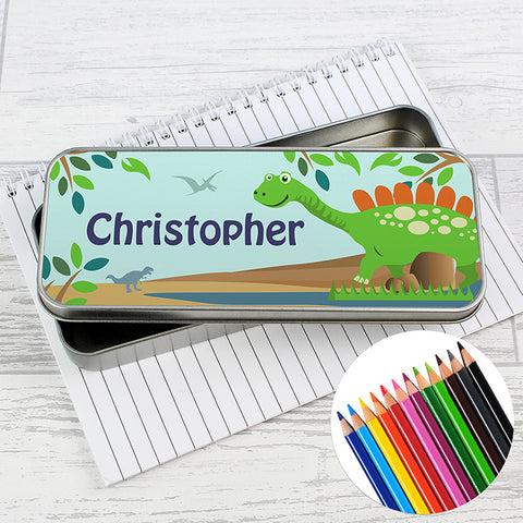 Buy Personalised Dinosaur Pencil Tin with Pencil Crayons