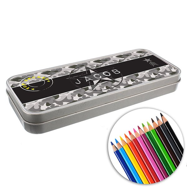 personalised-army-camo-pencil-tin-with-pencil-crayons
