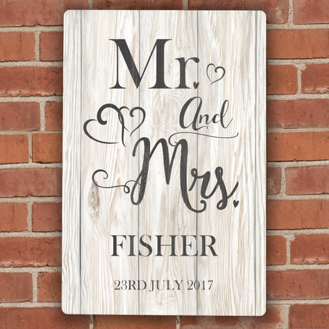 Personalised Mr & Mrs Metal Sign - Shane Todd Gifts UK