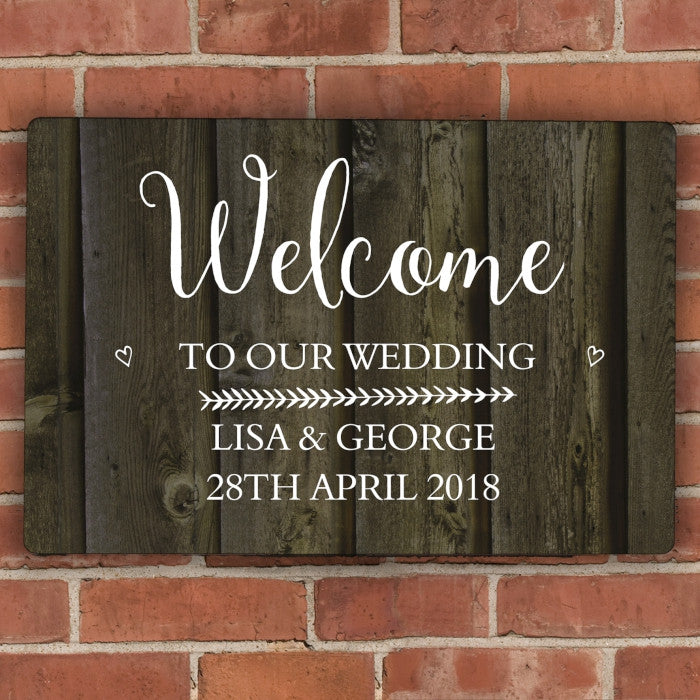 Personalised Walnut Wood Grain Metal Sign, Signage by Low Cost Gifts