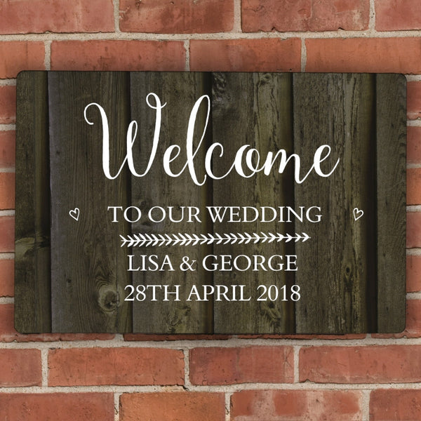 Personalised Walnut Wood Grain Metal Sign - Shane Todd Gifts UK