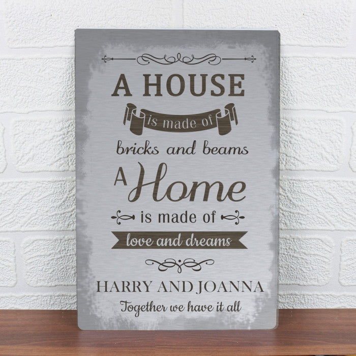 Personalised 'A House Is Made Of...' Metal Sign, Signage by Low Cost Gifts