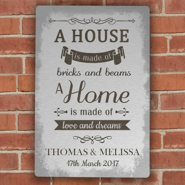 personalised-a-house-is-made-of-metal-sign