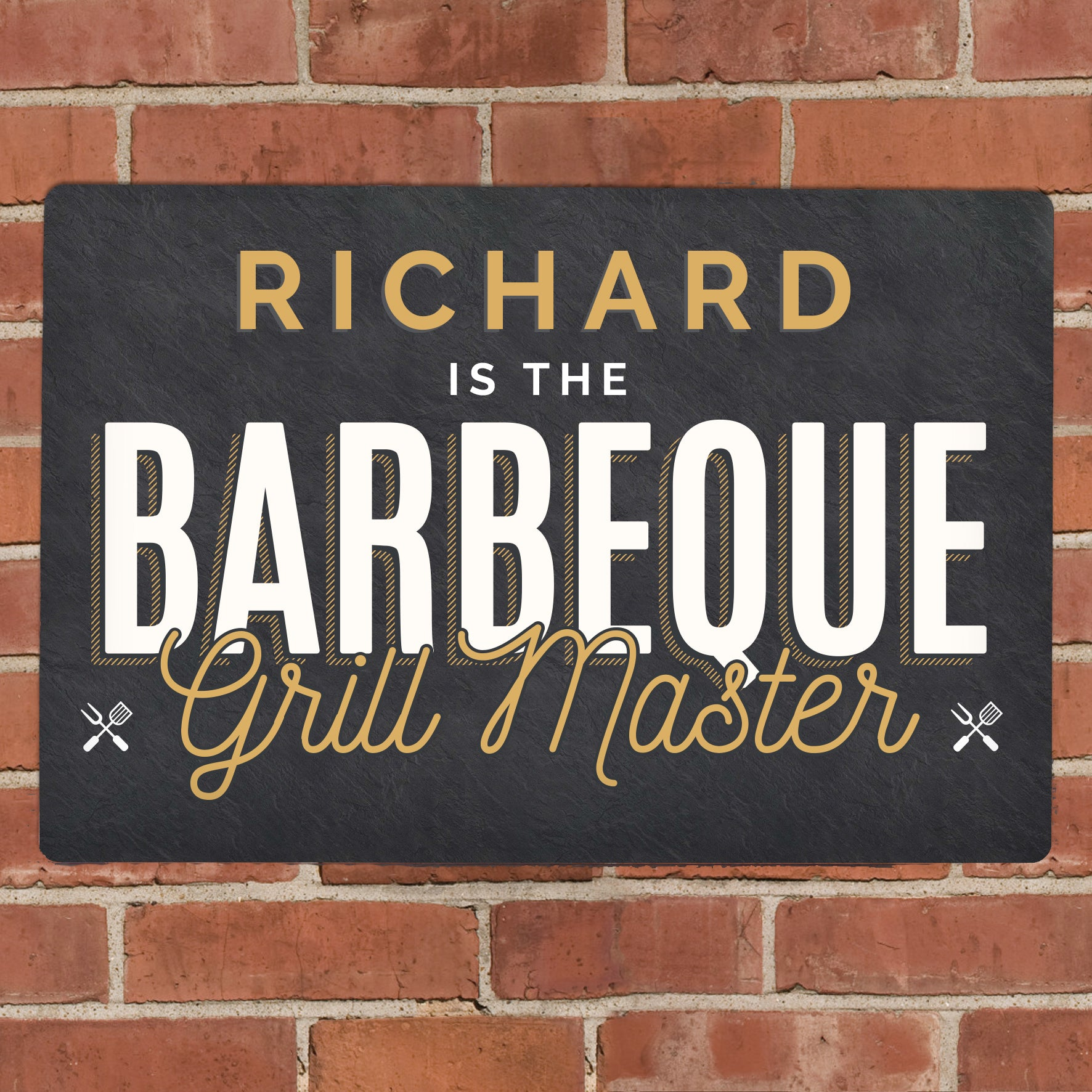 Personalised BBQ Grill Master Metal Sign, Signage by Low Cost Gifts