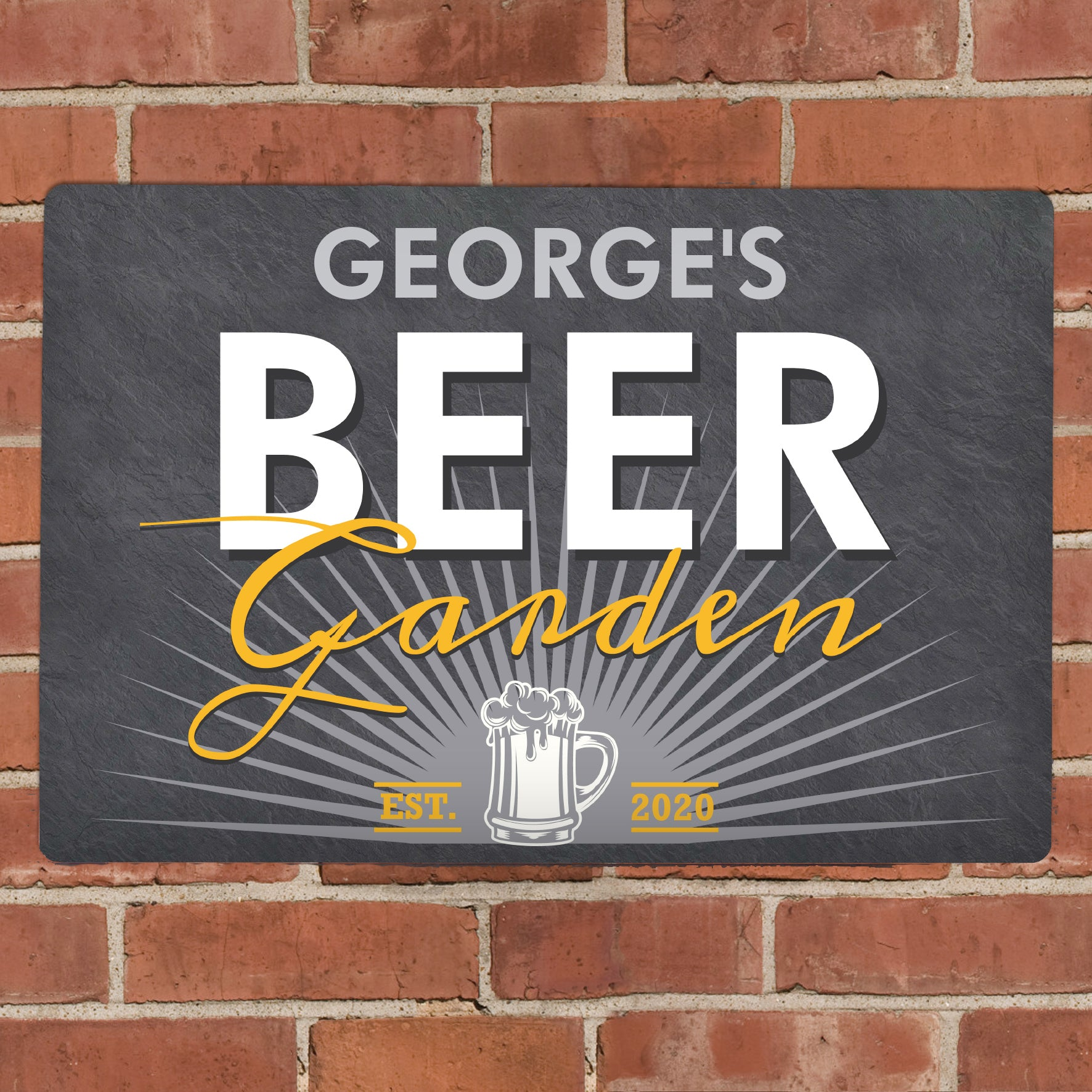 Personalised Beer Garden Metal Sign, Signage by Low Cost Gifts
