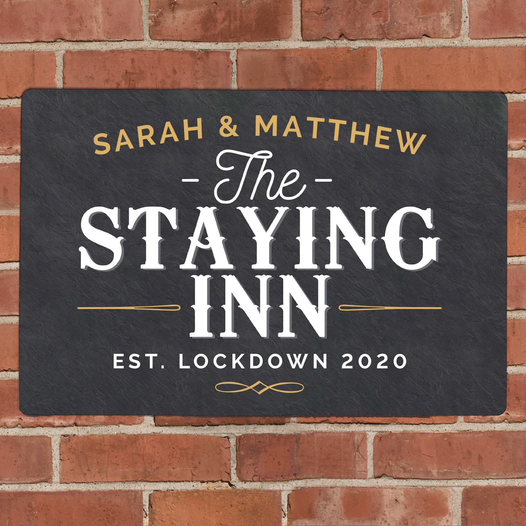 Personalised Staying Inn Metal Sign, Signage by Low Cost Gifts