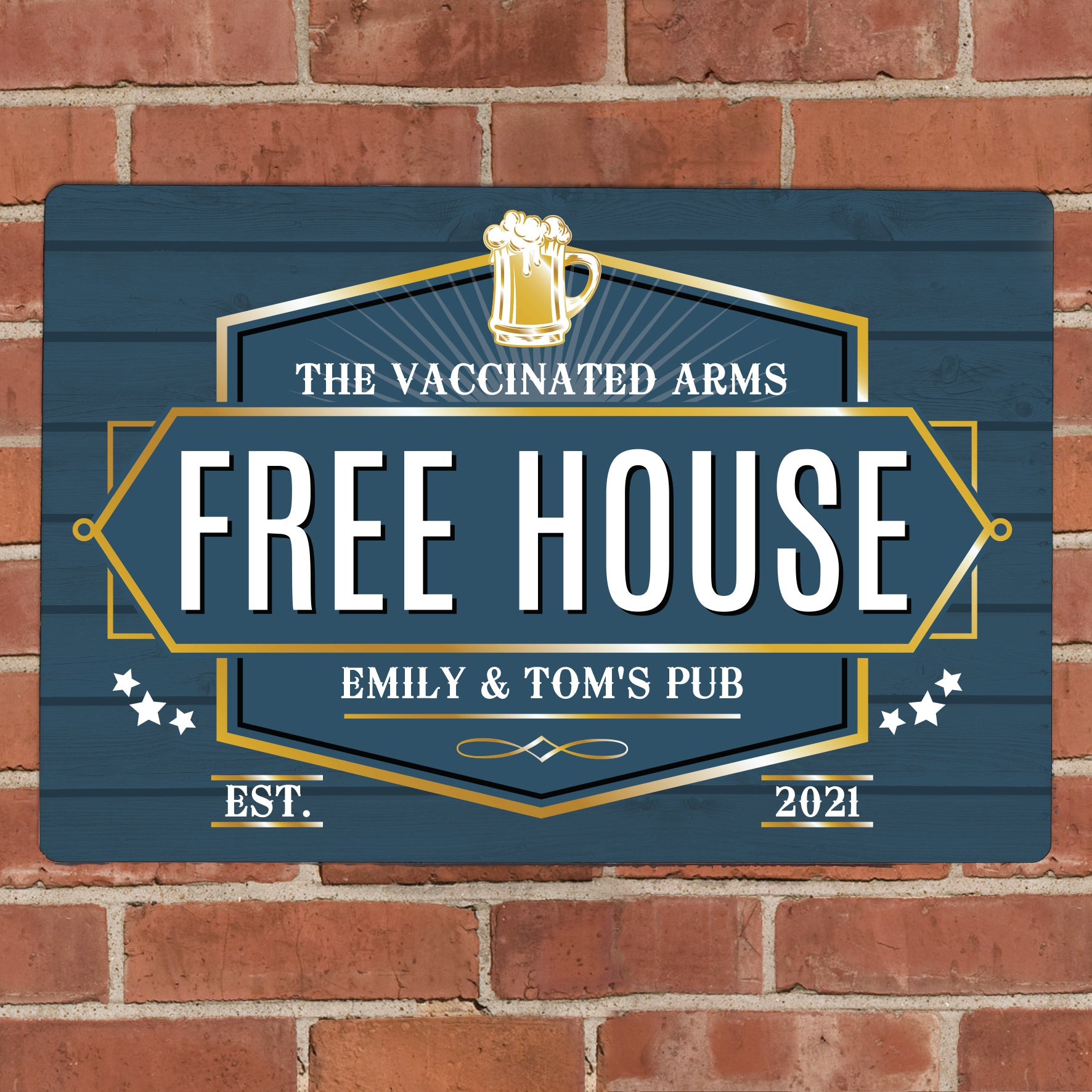 Personalised Free House Blue Metal Sign, Signage by Low Cost Gifts