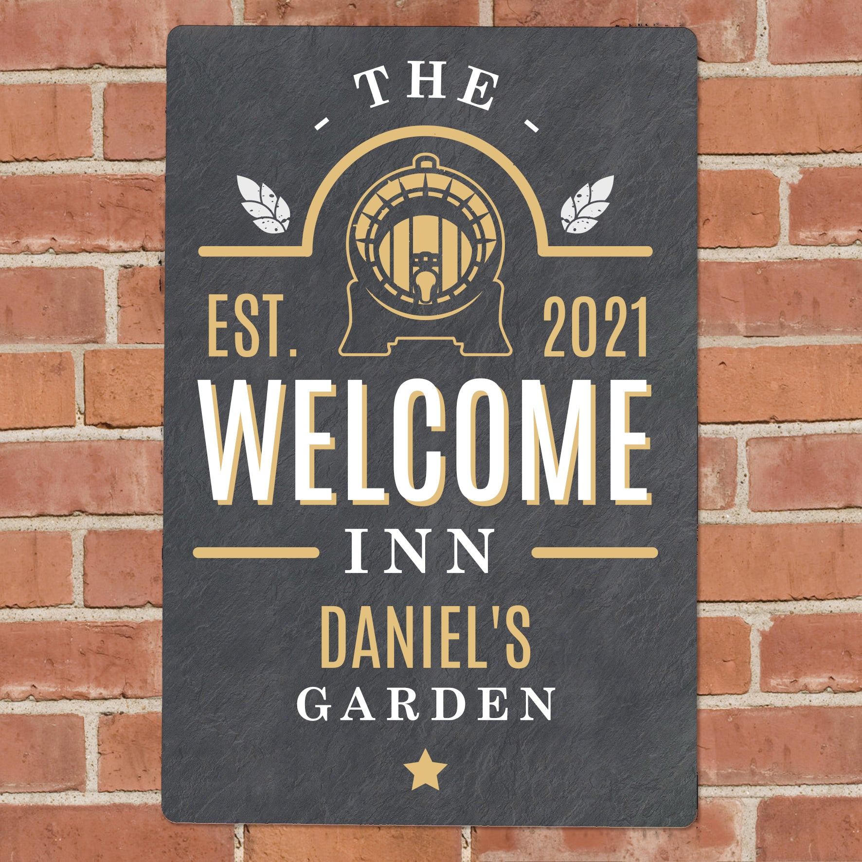 Personalised The Welcome Inn Metal Sign, Signage by Low Cost Gifts