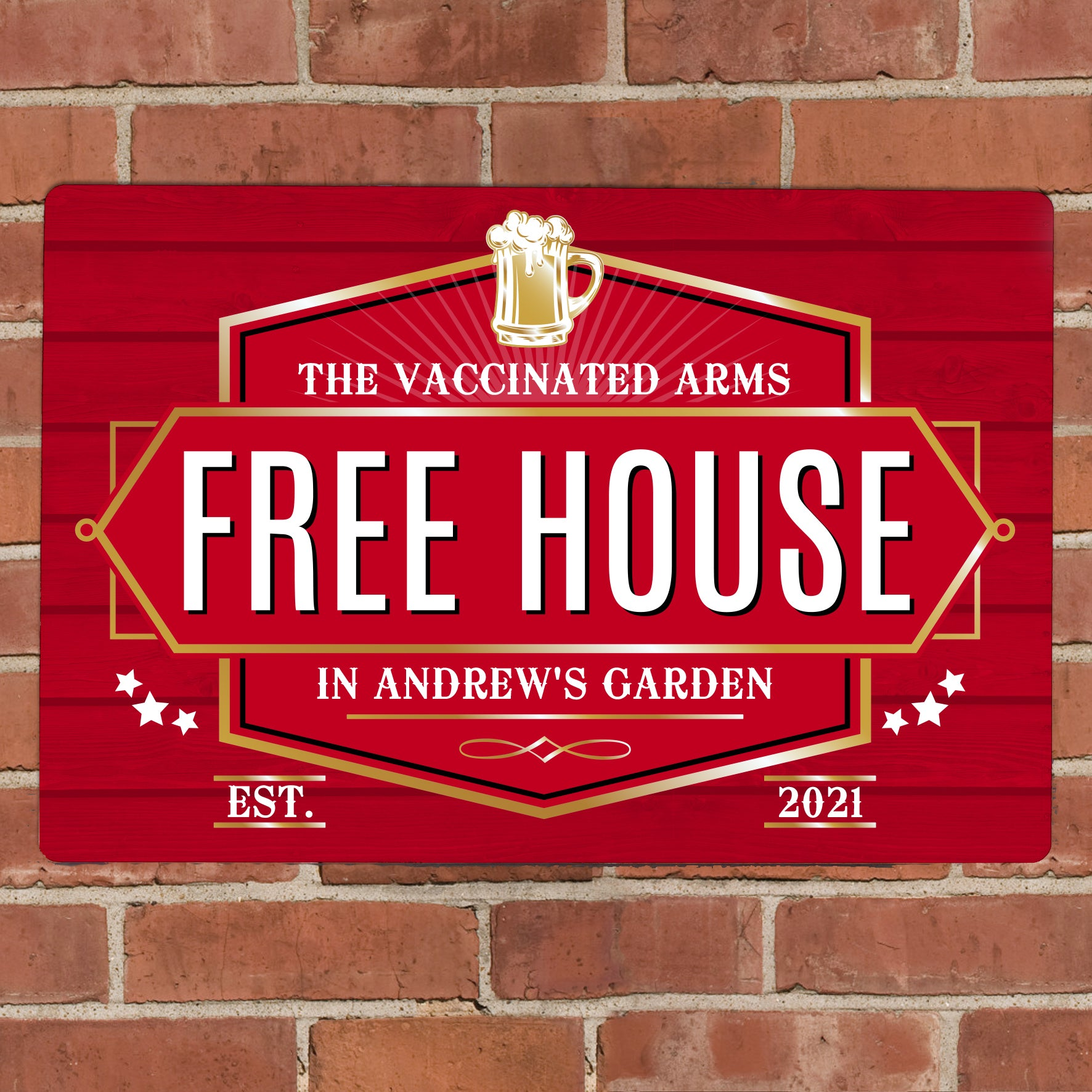 Personalised Free House Red Metal Sign, Signage by Low Cost Gifts